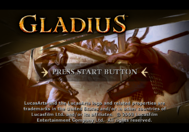 Gladius PlayStation 2 Title screen.