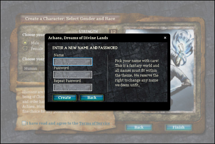 Achaea Browser Login page.