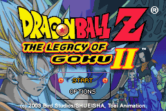 Dragon Ball Z: The Legacy of Goku II Game Boy Advance Main Menu