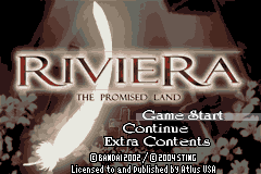Riviera: The Promised Land Game Boy Advance Main Menu