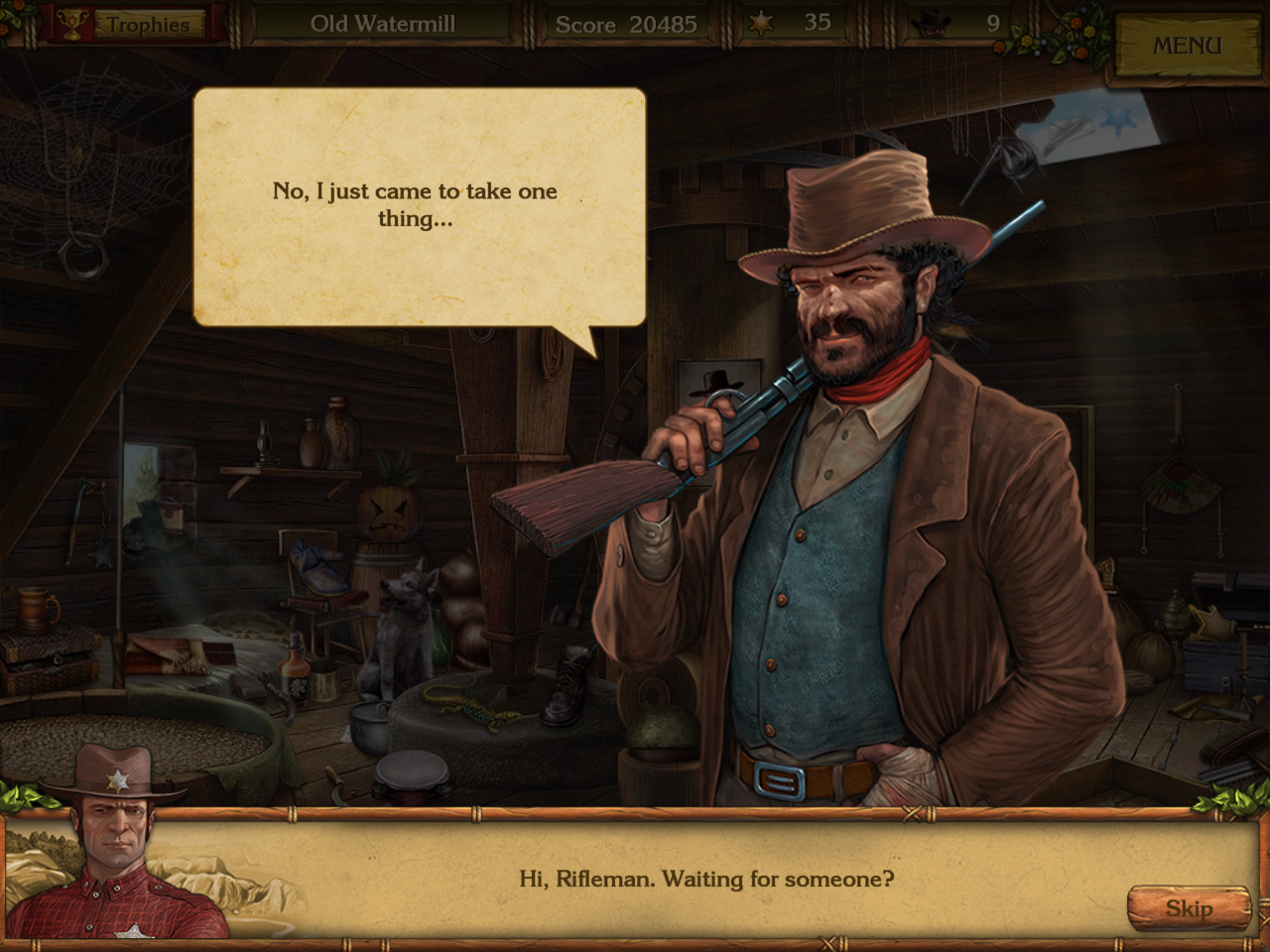 Golden Trails: The New Western Rush Windows Jack questioning the rifleman.