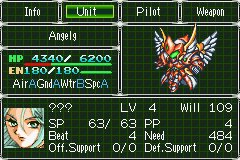 Super Robot Taisen: Original Generation 2 Game Boy Advance Status screen