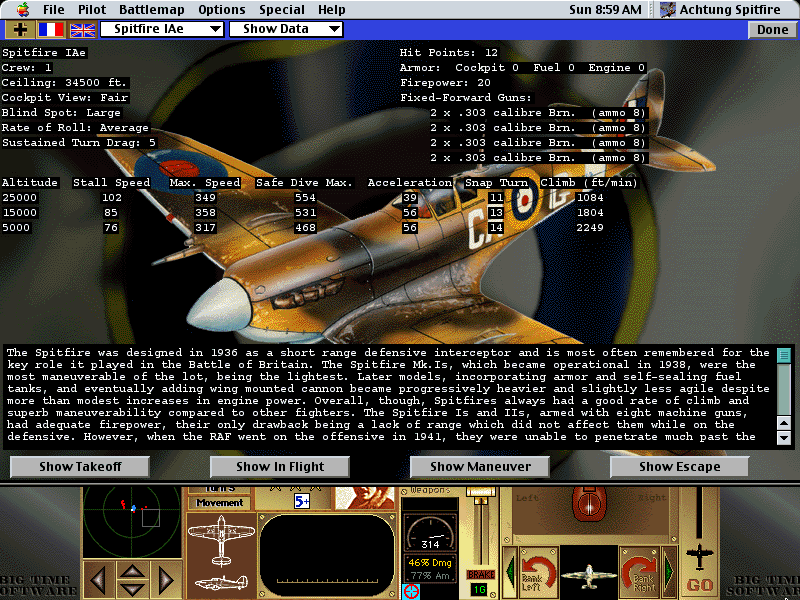 Achtung Spitfire Macintosh Mission aircraft database... the plane which the game is named Spitfire!