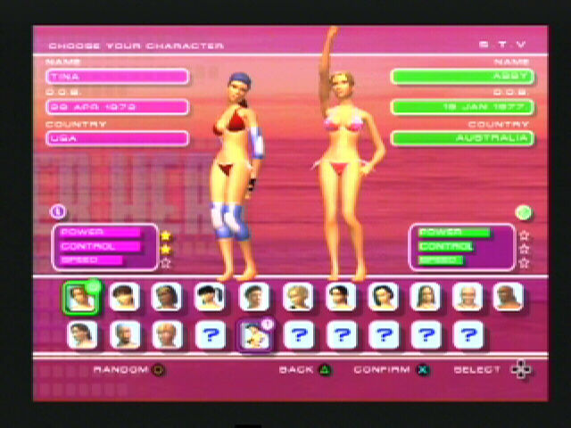 Summer Heat Beach Volleyball PlayStation 2 Select you main character and your partner
