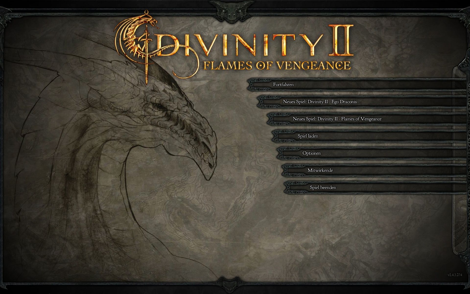 Divinity II: Flames of Vengeance Windows Main Menu