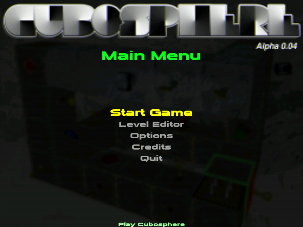 Cubosphere Windows Main menu