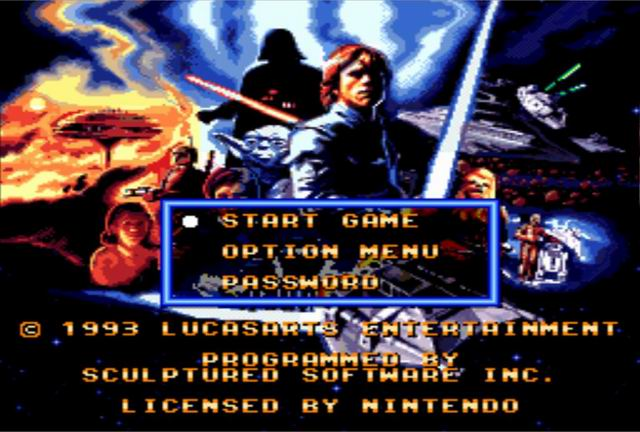 Super Star Wars: The Empire Strikes Back SNES Menu Screen