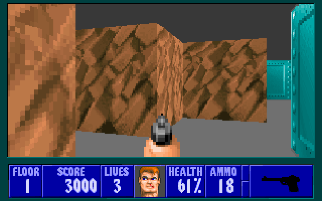 Wolfenstein 3D PC-98 Typical Wolf 3D maze. The level design in this game was... well... nice for its time, I guess, but Doom totally blew it out of the water