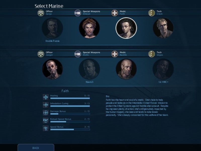 Alien Swarm Windows Choosing a character