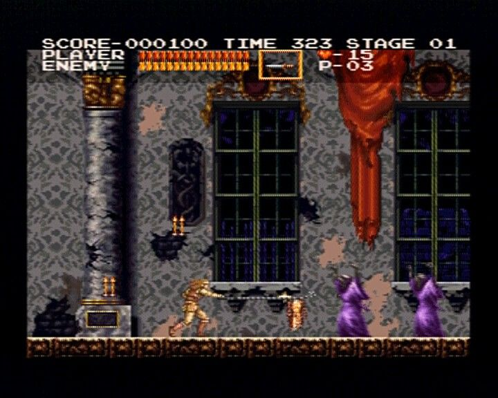 Castlevania Chronicles PlayStation (Original Mode) Encountering first wave of your victims.