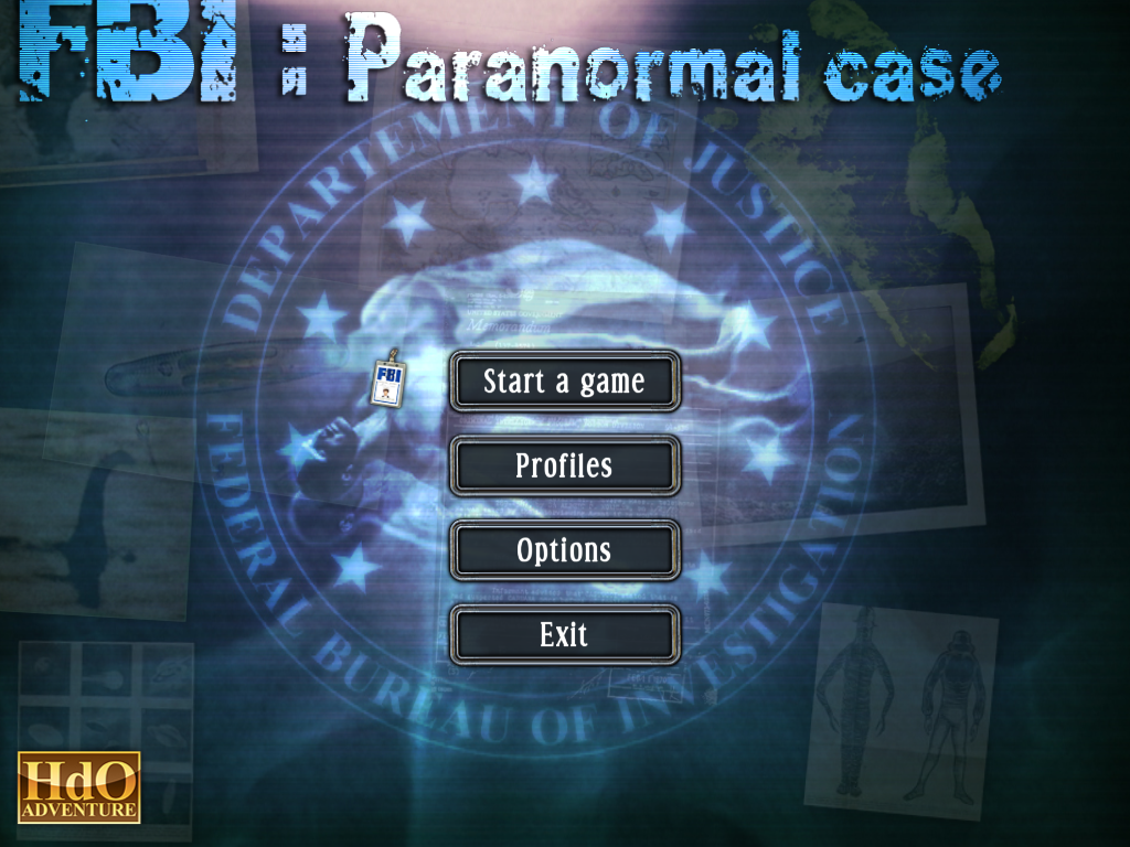 FBI: Paranormal Case Windows Main menu