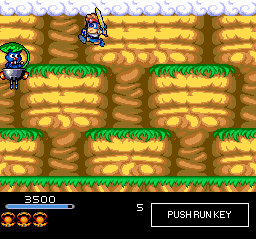 Chiki Chiki Boys TurboGrafx CD Fighting a pesky flying guy in a mountain scenery