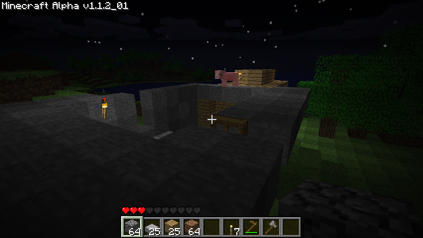 Minecraft Windows Expanding my home with with a stone keep. A pig got on the roof