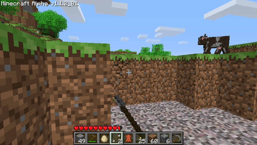 Minecraft Windows Digging a ditch.