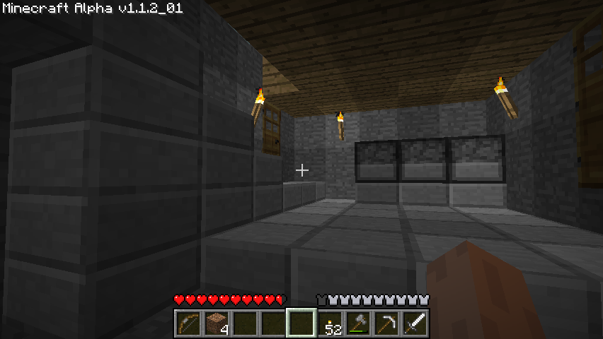 Minecraft Windows My keep now has multiple floors and a basement. I also build a moat around my house to keep out the creeps (not depicted).