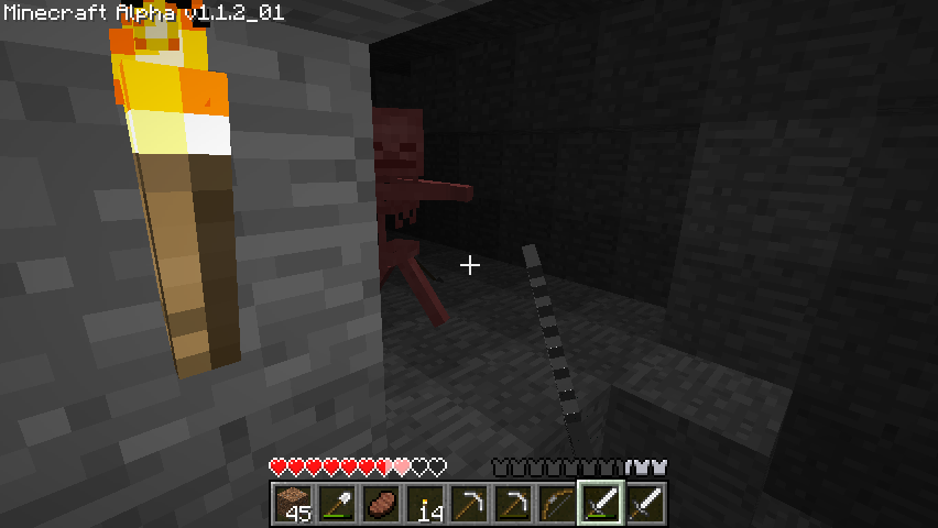 Minecraft Windows A skeleton hit me, and I hit him.