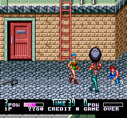 Double Dragon II: The Revenge TurboGrafx CD What? Are you INSANE? Throwing a boulder on my head?.. Didn't your Mom tell you it's impolite?
