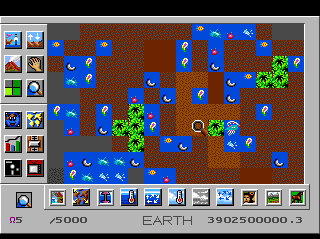 SimEarth: The Living Planet TurboGrafx CD Rocky area with rivers and diverse creatures