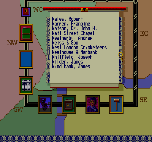 Sherlock Holmes: Consulting Detective TurboGrafx CD You can check a whole address book...