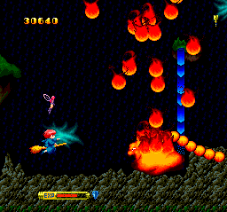 Fantastic Night Dreams: Cotton TurboGrafx CD Mid-level boss here is a fire-spitting... fire guy
