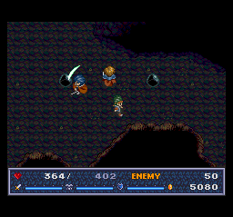 The Legend of Xanadu II TurboGrafx CD Fighting black slimes in a cave