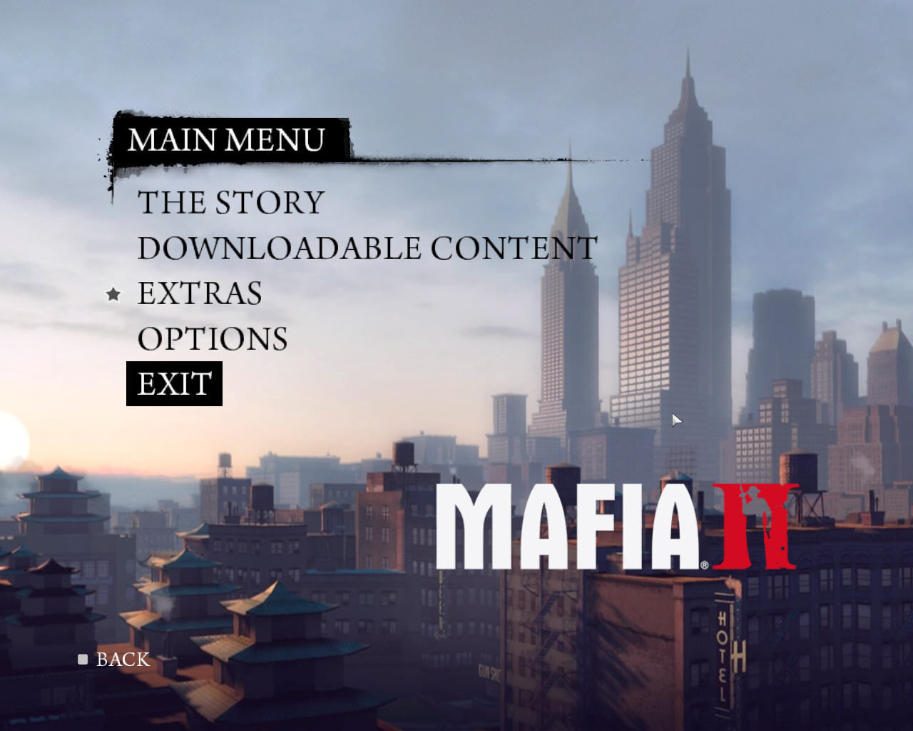 Mafia II Windows Title screen + main menu