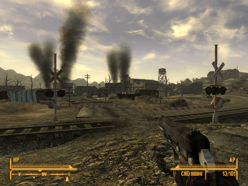 Fallout: New Vegas Windows Typical Fallout scene: broken railway that doesn't lead anywhere, smoke over ruined houses... desolation and sadness
