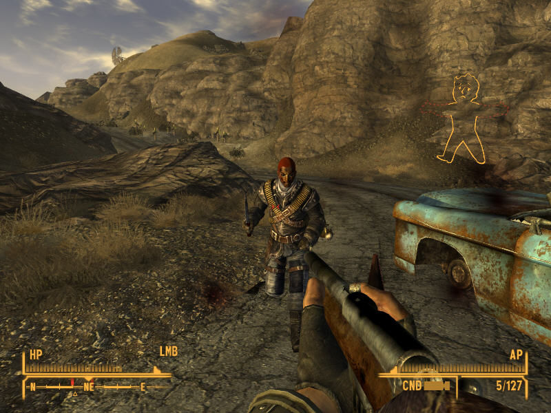 Fallout: New Vegas Windows Using a rifle to fight a power ganger near a rusty car skeleton