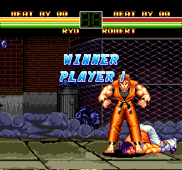 "Art of Fighting TurboGrafx CD The crazy Ryo has beaten his best friend to a bloody pulp... that's why all he deserves is broken English. ""Winner player"" is almost as good as ""You're winner""!"
