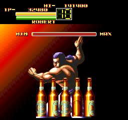Art of Fighting TurboGrafx CD Break the bottles...
