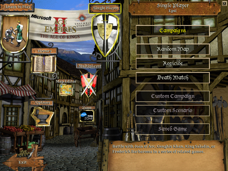 Age of Empires II: The Age of Kings Windows Main Menu