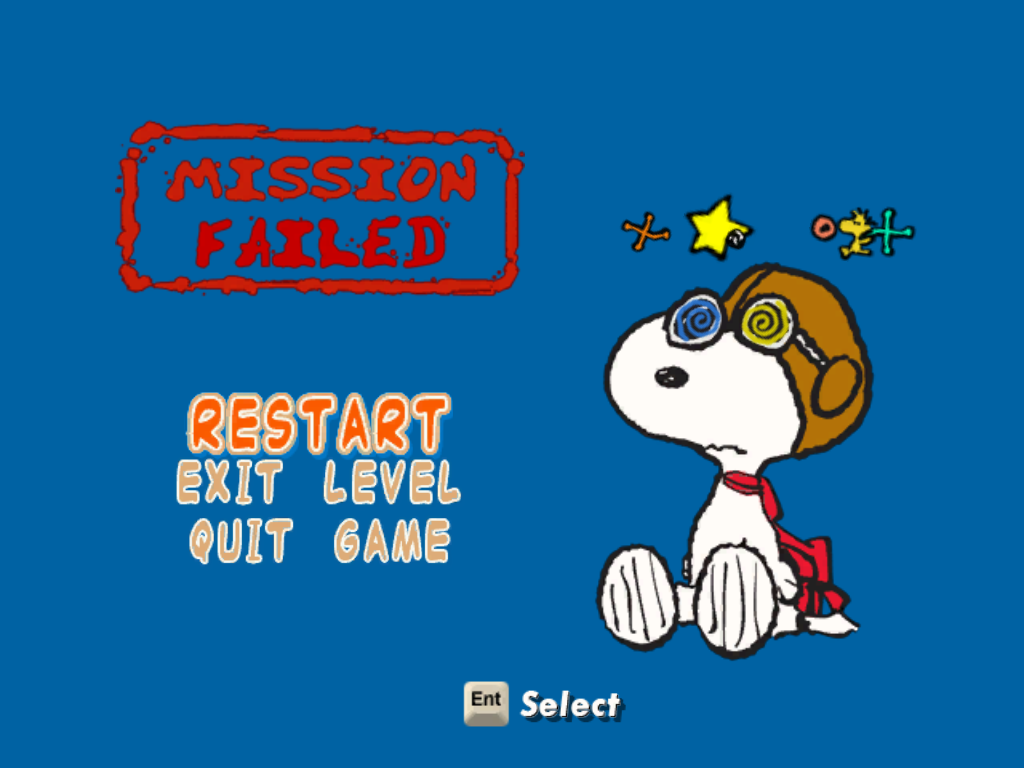 Snoopy vs. the Red Baron Windows Mission failed