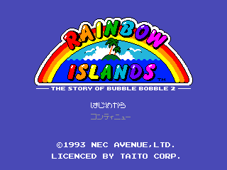 Rainbow Islands TurboGrafx CD Title screen