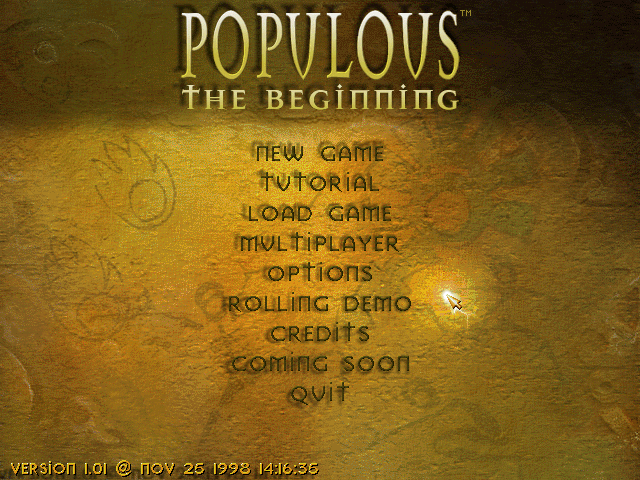 Populous: The Beginning Windows Main Menu