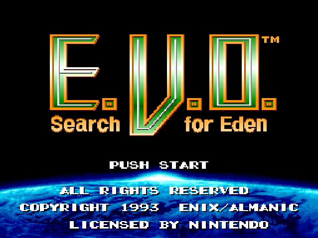 E. V. O.: Search for Eden SNES Title Screen