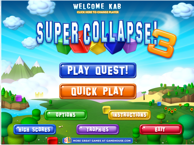 Super Collapse! 3 Windows Main menu