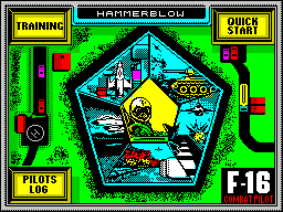 F-16 Combat Pilot ZX Spectrum Mission selection. Each of the pictures around the sides of the pentagram represents a mission