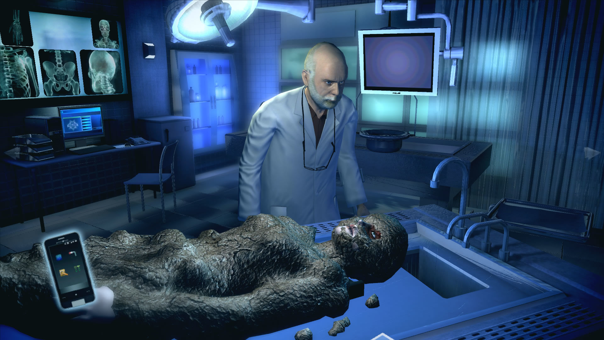 CSI: Crime Scene Investigation - Fatal Conspiracy  Windows ...and finding a corpse. Here together with Dr. Robbins in the morgue