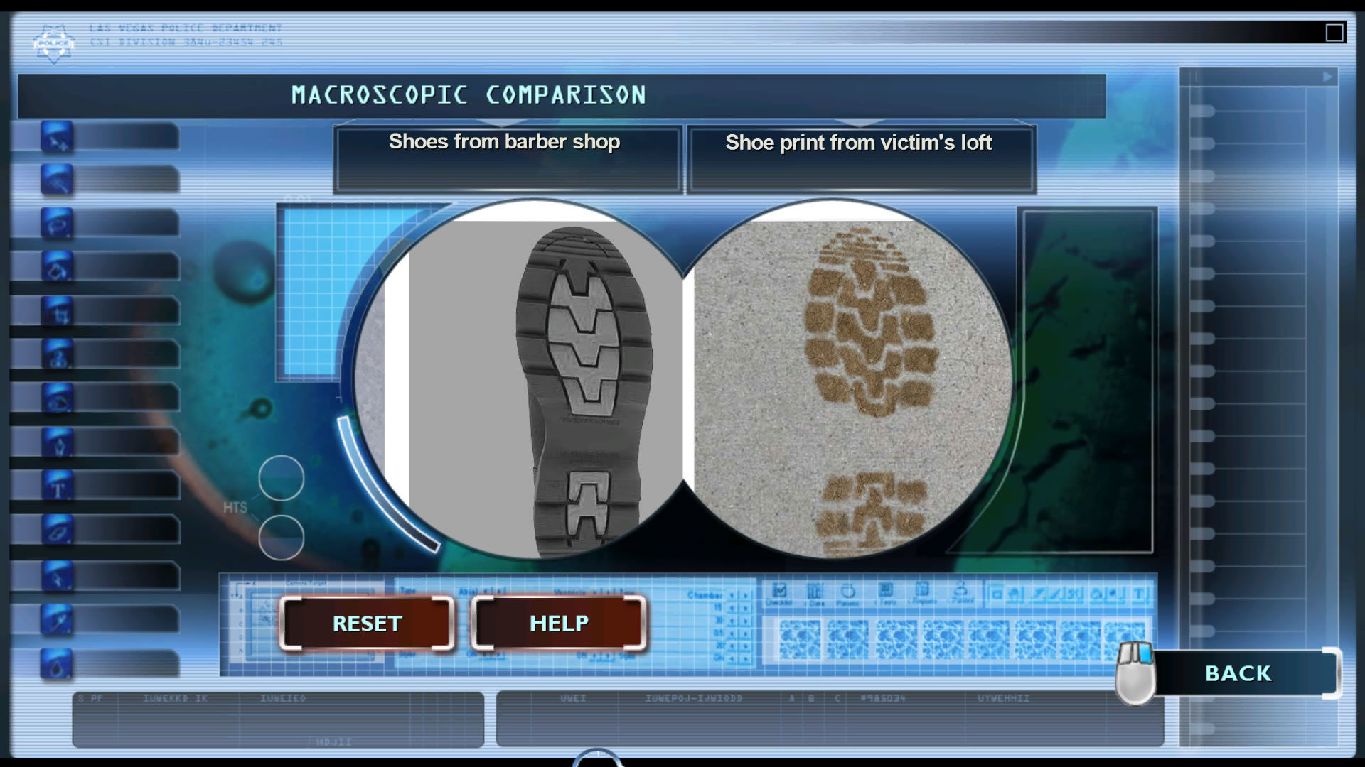 CSI: Crime Scene Investigation - Fatal Conspiracy  Windows Comparing the found footprint with a suspect's show