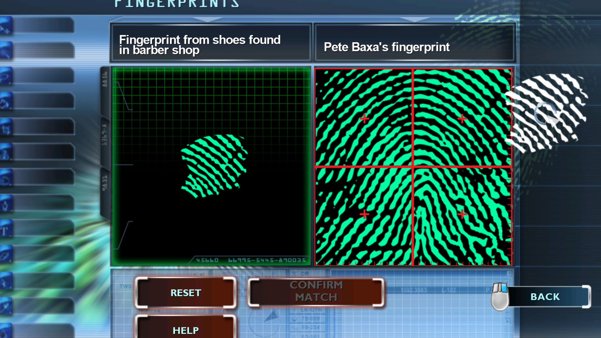 CSI: Crime Scene Investigation - Fatal Conspiracy  Windows Comparing two finger prints