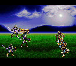 Bahamut Lagoon SNES We take on enemy soldiers, encouraged by the beautiful backgrounds...