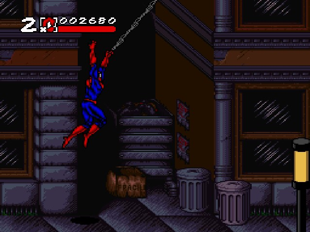 Spider-Man & Venom: Maximum Carnage SNES Now, what is that chained tied to?!