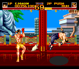 World Heroes 2 TurboGrafx CD Ouch... that hurt. Note the changing scrolling view