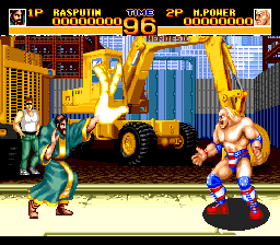 World Heroes 2 TurboGrafx CD Rasputin makes a big fist, trying to impress Hulk Hogan here :)