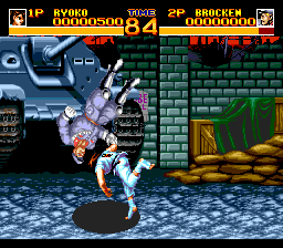 World Heroes 2 TurboGrafx CD Throwing this guy against a wall reveals... a tank!