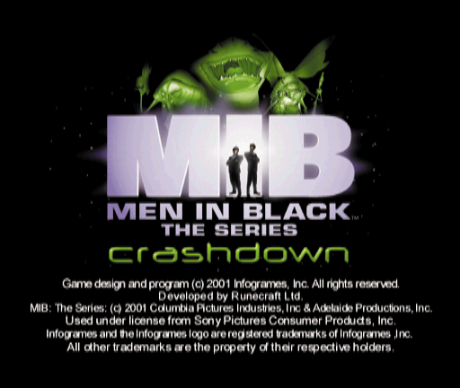 Men in Black: The Series - Crashdown PlayStation Title screen.