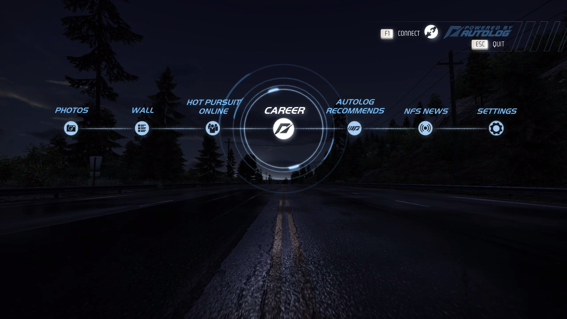 Need for Speed: Hot Pursuit Windows Main menu.