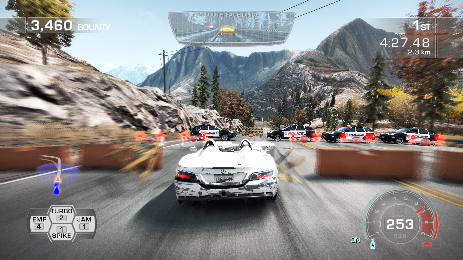 Need for Speed: Hot Pursuit Windows Rushing through the block.