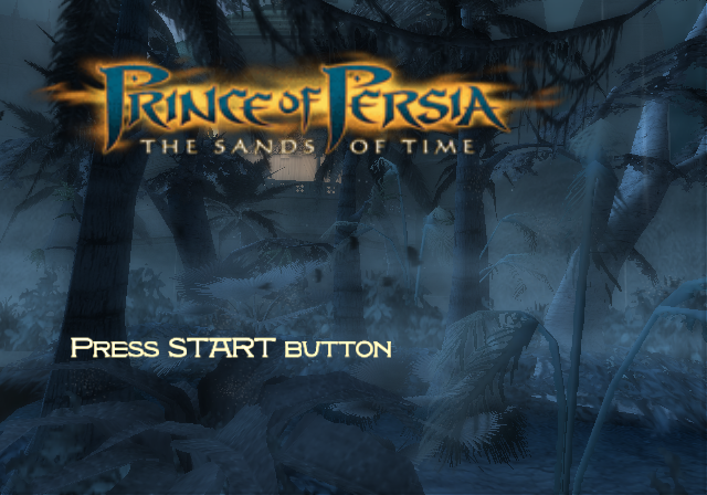 Prince of Persia: The Sands of Time PlayStation 2 Title screen.