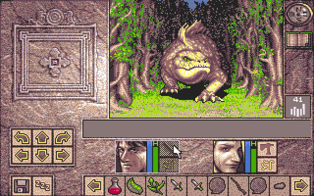 Lands of Lore: The Throne of Chaos PC-98 Fighting a creature in the wild.